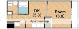 Osaka Metro四つ橋線 岸里駅 徒歩10分の賃貸マンション 1階1DKの間取り