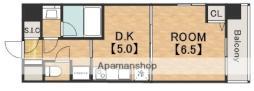 スプランディッド天王寺 7階1DKの間取り