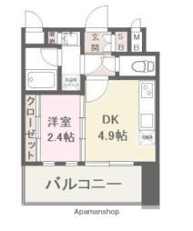 西鉄天神大牟田線 高宮駅 徒歩6分の賃貸マンション 10階1DKの間取り