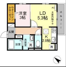 西鉄天神大牟田線 安武駅 徒歩8分の賃貸アパート 1階1LDKの間取り