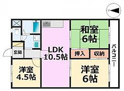 シティハイツ七松[3階]の間取り