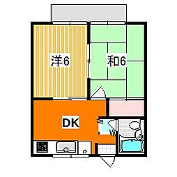 レジデンスワンバレー 2階2DKの間取り