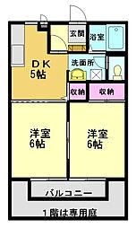 アークサキノミヤA[202号室]の間取り