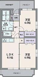 静岡県三島市八反畑の賃貸マンションの間取り