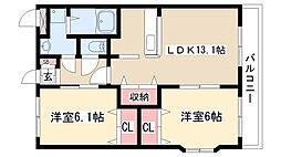 愛知県名古屋市緑区清水山1丁目の賃貸アパートの間取り