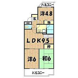 ロイヤル二俣川B棟[208号室]の間取り