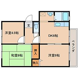 奈良県奈良市芝辻町2丁目の賃貸アパートの間取り