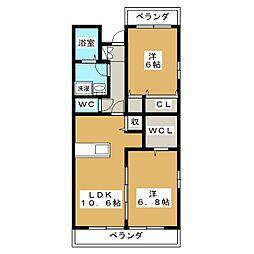 ソレイユK un、duex[3階]の間取り