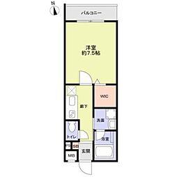 京王井の頭線 下北沢駅 徒歩12分の賃貸マンション 4階1Kの間取り