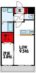 JR鹿児島本線 水巻駅 徒歩3分の賃貸マンション 4階1LDKの間取り