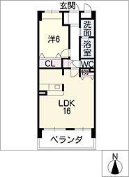 クレアーレ浅井[4階]の間取り