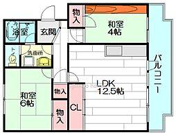 江坂住宅6号棟[4階]の間取り