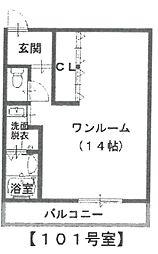 ガーデンプレス南武庫之荘[101号室]の間取り