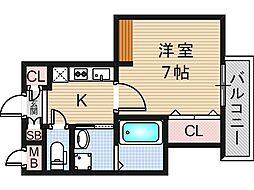 リバーライズ東小橋II[307号室]の間取り