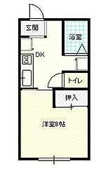 JR奥羽本線 蔵王駅 松原中下車 徒歩3分の賃貸アパート 1階1Kの間取り