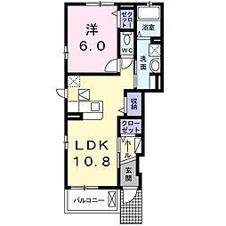 バス 曳馬野下車 徒歩4分の賃貸アパート 1階1LDKの間取り