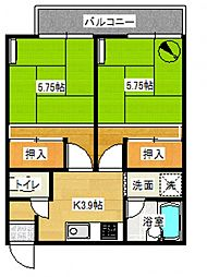 KKハイツA[203号室号室]の間取り