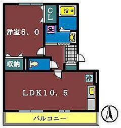 グランド・ソレーユ2(大和田新田)[202号室]の間取り