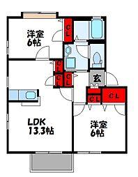 フォーレスト花の木E[1階]の間取り