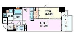 Osaka Metro御堂筋線 淀屋橋駅 徒歩8分の賃貸マンション 6階1LDKの間取り