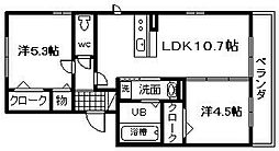 プラージュ sakigake[101号室]の間取り