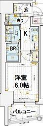 エステムコート大阪新町 2階1Kの間取り
