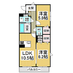 JR篠ノ井線 村井駅 徒歩19分の賃貸マンション 1階2LDKの間取り