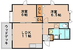 パティオ平田台A[1階]の間取り
