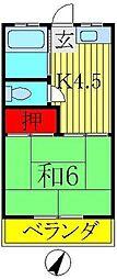 コーポ藤枝[6号室]の間取り
