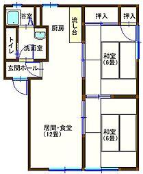 ラフォーレ田部井 202号室[3DK号室]の間取り