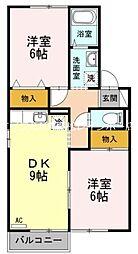 香川県高松市松縄町の賃貸アパートの間取り