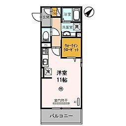 D-room野崎 3階ワンルームの間取り