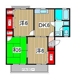 埼玉県さいたま市緑区原山4丁目の賃貸アパートの間取り