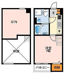 南海線 住ノ江駅 徒歩8分の賃貸アパート 1階1Kの間取り