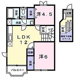 JR津山線 玉柏駅 徒歩26分の賃貸アパート 2階2LDKの間取り