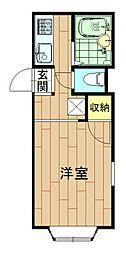 神奈川県川崎市中原区下新城2丁目の賃貸アパートの間取り
