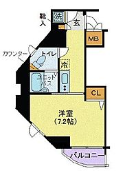 東京都港区芝1丁目の賃貸マンションの間取り