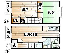 [テラスハウス] 福岡県北九州市小倉北区上到津4丁目 の賃貸【/】の間取り
