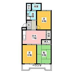 野白ガーデンハイツ[3階]の間取り