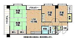 福岡県北九州市小倉北区真鶴2丁目の賃貸マンションの間取り