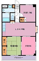 野知マンションA[202号室]の間取り