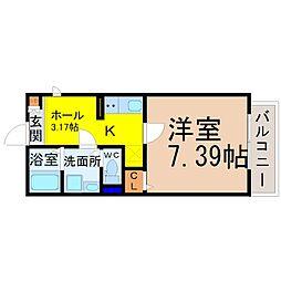 名古屋市営鶴舞線 庄内通駅 徒歩4分の賃貸アパート 2階1SKの間取り