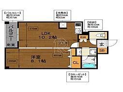 ラクレイス平尾ステーション[512号室]の間取り