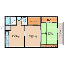 奈良県生駒市俵口町の賃貸マンションの間取り