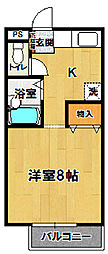 プルミエロジュマンA・B[B201号室]の間取り