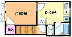 兵庫県神戸市灘区深田町2丁目の賃貸アパートの間取り