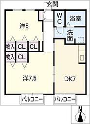 プリムローズ大野II・III[2階]の間取り