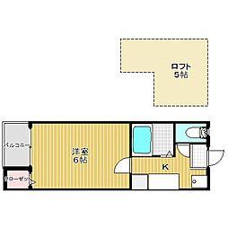 愛知県名古屋市中村区野田町字経田の賃貸アパートの間取り
