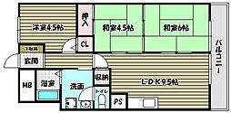 狭山ハウス3号館[6階]の間取り