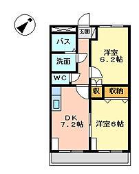 岡山県岡山市東区瀬戸町江尻の賃貸アパートの間取り